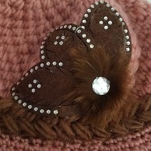 Unknown Accessories - Handmade Pink & Brown Winter Hat Feather design